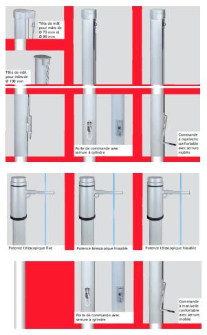 Modèles de mâts pour drapeaux pavillon