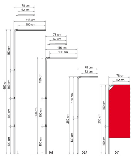Plans des tailles de voiles publicitaires
